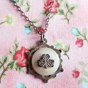 Vintage tiny silver shamrock necklace shell